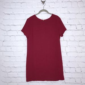 Lulu's Shift and Shout Mini Dress in Wine Red
